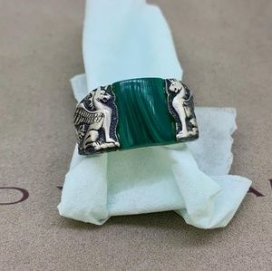 David Yurman Griffin Ring with Malachite
